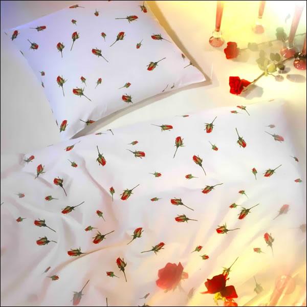 kaeppel mako satin bettw sche 135x200 cm rosen knospen 8448 wei rot gr n blume ebay. Black Bedroom Furniture Sets. Home Design Ideas